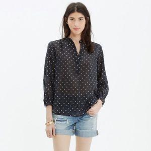 MADEWELL |  Shirred Popover Polka Dot Shirt